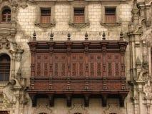 Wooden balcony. At Plaza de Armas, Lima stock photos