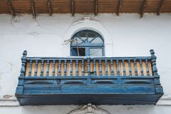 Wooden balcony exterior. With carving decoration from Cusco, Peru royalty free stock photo