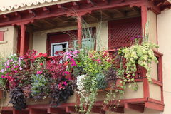 Wooden balcony with flowers, Santa Cruz de la Palm Stock Photography