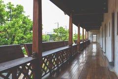 Wooden balcony long way Stock Photo