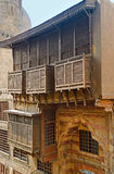 The wooden balcony. Of the medieval Hammam Inal, located in Al-Muizz street in historic district of Islamic Cairo, Egypt Stock Photo