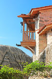 Wooden balcony in Meteora, Greece Stock Photos