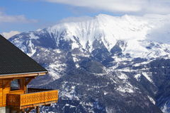 Wooden balcony and mountains royalty free stock photo