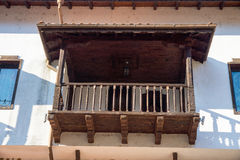 Wooden balcony in the national architecture of the town of Melnik in Bulgaria Royalty Free Stock Image