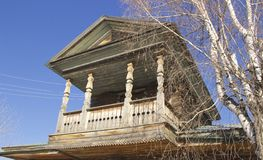 Wooden balcony stock photo