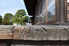 Wooden balcony in old Japanese castle Royalty Free Stock Photography