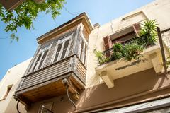 Wooden balcony in the old town of Rethymno in Crete Greece Stock Image