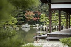 Wooden balcony pond japanese garden Stock Photos
