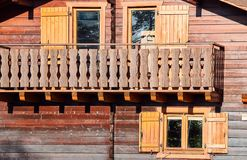 Wooden balcony of a rural hut Stock Images