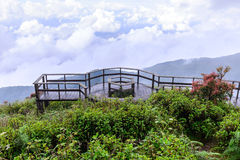 Wooden balcony for scenic of mountain at Doi Inthanon National Park in Chiang Mai, Thailand Stock Photo
