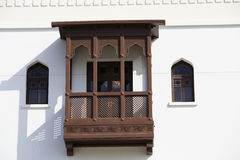 Wooden balcony at the Sultan's Palace complex in Old Muscat Royalty Free Stock Photo