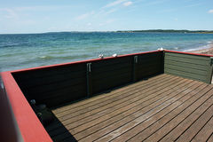 Wooden balcony terrace with great view of the sea stock images