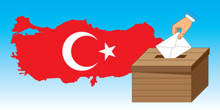 Wooden ballot box with a vote letter and Turkey Ma Stock Image