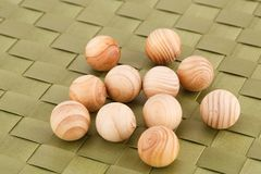 Wooden balls. On bamboo background Royalty Free Stock Photos