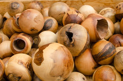 Wooden balls in different sizes. This foto of wooden balls in different sizes I made on a garden festival in Bavaria (Germany Stock Image