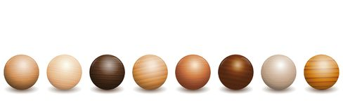 Wooden Balls Different Types Of Wood. Wooden balls. Different species of wood types - variety of eight polished, varnished textured samples - brown, dark, gray Stock Photos