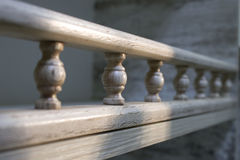 Wooden baluster on a chipboard pencil case Stock Photography