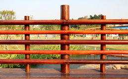 Wooden balustrade. Detail of wooden  balustrade in the park Royalty Free Stock Photos
