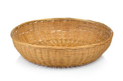Wooden bamboo  basket isolated on white background Royalty Free Stock Photo