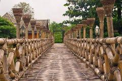 Wooden Bamboo bridge. Wood bamboo bridge for walk to cross a river stock photography