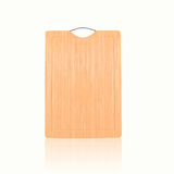 Wooden bamboo chopping board for a menu with prices or recipe Royalty Free Stock Photography