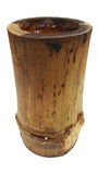 Wooden bamboo cup pot isolated on white background, nature packaging style, charcoal basket Royalty Free Stock Image