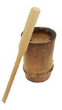 Wooden bamboo cup pot with small wooden paddle isolated on white background, nature packaging style, charcoal basket Royalty Free Stock Photo