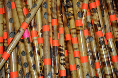 Wooden bamboo flutes Stock Photography