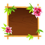 Wooden bamboo frame Royalty Free Stock Image