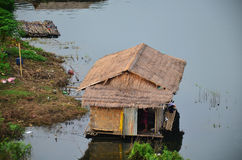 Wooden and Bamboo Raft House in Samprasob River Royalty Free Stock Image