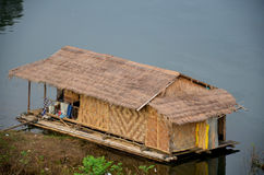 Wooden and Bamboo Raft House in Samprasob River Royalty Free Stock Photos