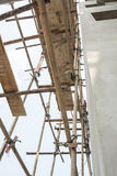 Wooden with bamboo scaffolding Royalty Free Stock Image