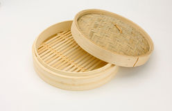 Wooden bamboo steaming tray Stock Photo