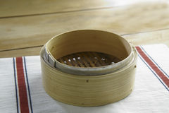 Wooden bamboo steaming tray Stock Photos