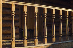 Wooden banister of house exterior Stock Photos