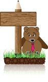 Wooden banner with bear Stock Images