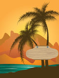 Wooden banner beaten to palm trees Royalty Free Stock Images