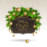 Wooden banner with Christmas decoration Stock Photo