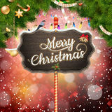 Wooden banner with Christmas Fir-tree branches. Royalty Free Stock Photography