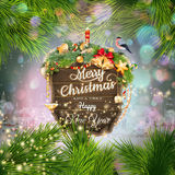 Wooden banner with Christmas Fir-tree branches. Royalty Free Stock Photo