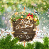 Wooden banner with Christmas Fir-tree branches. Stock Photography