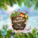 Wooden banner with Christmas Fir-tree branches. EPS 10 vector file included Royalty Free Stock Photo