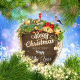 Wooden banner with Christmas Fir-tree branches. EPS 10 vector file included Stock Image
