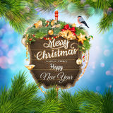 Wooden banner with Christmas Fir-tree branches. EPS 10 vector file included Stock Photos