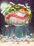 Wooden banner with Christmas Fur-tree branches. Stock Images