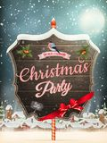 Wooden banner with Christmas Fur-tree branches. Royalty Free Stock Photography