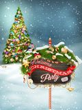 Wooden banner with Christmas Fur-tree branches. Royalty Free Stock Images
