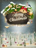 Wooden banner with Christmas Fur-tree branches. EPS 10 vector file included Royalty Free Stock Image