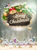 Wooden banner with Christmas Fur-tree branches. EPS 10 vector file included Stock Photo