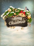 Wooden banner with Christmas Fur-tree branches. EPS 10 vector file included Stock Image